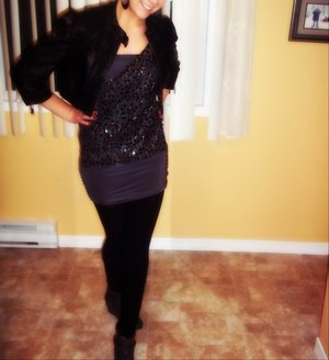 Girls night out x0 Earrings - H&M Leather Jacket - Bebe  Dress - Vintage ! Leggings - Ardene  Botties - Aldo