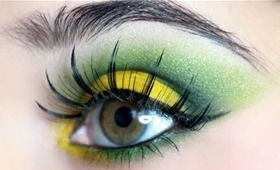 Bright Green & Yellow Eyeshadow Look