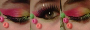 One of my more advanced raver looks<3 I love raver makeup<33