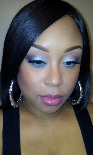 """Eyes - Suave intentions and contrast by mac on lid and outer V...Crease is BH cosmetic blush palette """"bottom right color"""" BlackTrack Fluidline. Brows - DipDown Fluidline and spiked. Concealer - LA Girl HD under the brow in cool tan. Foundation - Mac prolongwear in NC45/BH Foundation in D1 (Mixed). Cheeks - Sun & Moon and Blunt by MAC. Lips- Plum liner, Laugh a lot lipstick and like venus dazzleglass. Powder - Mineralize skinfinish in medium deep and Fix+ to finish the look"""