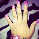 girly pink with diamond studs