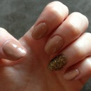 Nude extensions with glam glitter