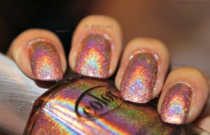A orangey-tan linear holo. One or two coats...