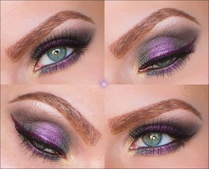A make up look thought for the Holiday Season coming up.   1. Prime the eyelids with Urban Decay's eyeshadow primer potion anti-aging. Apply a bit of NYX jumbo eye pencil over the mobile eyelid.  2. In the inner corner apply STRIKE and blend it upwards the inner crease. Over the middle eyelid pack on an Amethyst colored loose eyeshadow.  3. On the inner mobile eyelid apply DAMAGED and and on the outer mobile eyelid apply STASH. Blend it up in the crease and let it meet with DAMAGED. Blend out any harsh lines.  4. Just in the outer V blend in POISON. Over the crease as a transition color blend in HABIT and highlight under the eyebrows with DOPE.  5. Under the lower lashine first apply and blend out NYX jumbo eyepencil. Over it in the inner corner apply DAMAGED. Over the middle apply the Amethyst colored loose eyeshadow and in the outer corner apply STASH.  6. Line upper and lower waterline with a black kajal. Apply an aubergine colored cream eyeliner and make a wing. Apply mascara and put on false eyelashes. Done!