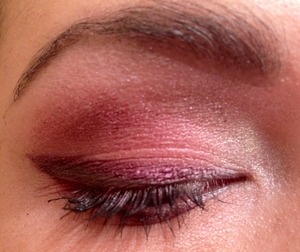 Pink, purple, coral shimmer eye with black and purple liner