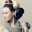 Hair show bumps and braids, Natural makeup.