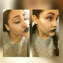 Cool toned look with black lips