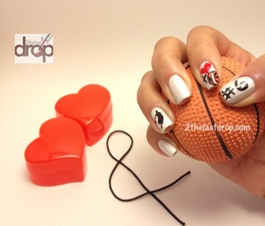Basketball Nails!  Hand painted thumb and index with sticker on ring finger.