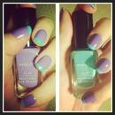 Pastel purple & mint nails