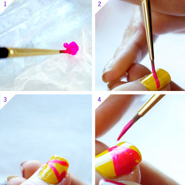 Neon Colorblock Nail Tutorial Beautylish