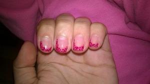 Polka dot nail art with my favorite pink-ish colours