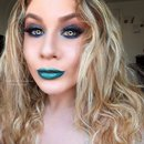 Teal Glittery Peacock Spring Makeup