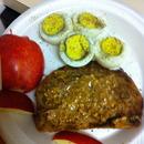 Apple, eggs, Whole Grain bread toast with organic PB