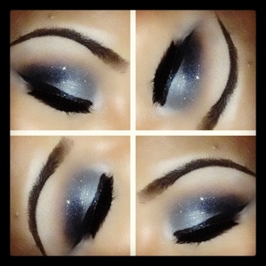Knit divine on lid. Soft brown, embark and carbon on the outer corner. Mac glitter in silver.