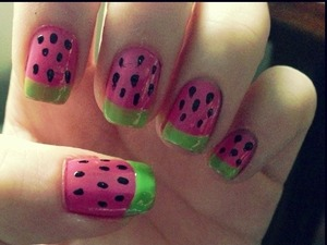 water melon/strawberry nails!