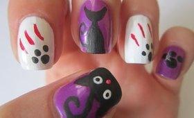 Halloween Nail Art Designs - Black Cats Nails Tutorial
