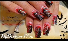Ice & Fire, Halloween Nail Art Design ♥