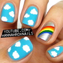 Rainbow and Clouds Nail Art