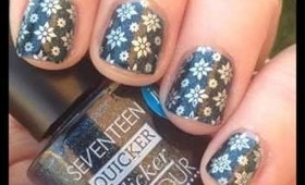 A montage of my nail manicures stamping and glitter