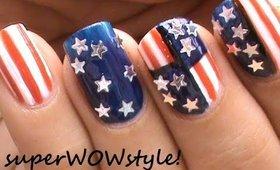 Memorial Day Nail Art + 4th of July Nail Designs - US Flag Nails Art Designs