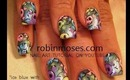colorful retro Skulls on Ice Blue: robin moses nail art tutorial
