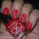 Red nails with stamping