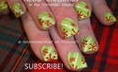 RETRO christmas red snowflakes over lime green candcanes: robin moses nail art tutorial 542