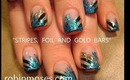 CRACKLE blue mylar foil with stripes & GOLD bars: robin moses nail art tutorial
