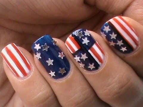 4th of july nails design! Usa flag 4th july easy nail designs.