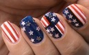 4th of July Nails Design ! - USA Flag 4th july EASY nail designs short/long nail art tutorial