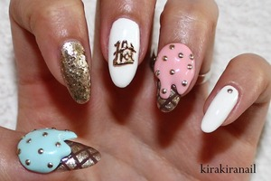 """♡ Products I used ♡ """"Over the taupe"""" (Nr. NL B85) by OPI """"Go bold!"""" (Nr.140) by essence  """"Gold carat"""" (Nr.910) by L'Oréal Jewel Glitter Nail 02 by Canmake Nr. 370 by f.flormar (white) """"Nebline"""" (Nr. 77) by Maybelline (Colorama) Blue (DIY video on my YT channel: DIY Tiffany Blue) Studs from Nail Supply (http://www.rakuten.ne.jp/gold/nailsupply/) HEX Charm from http://www.hexnailjewelry.com/  Base and top coat"""
