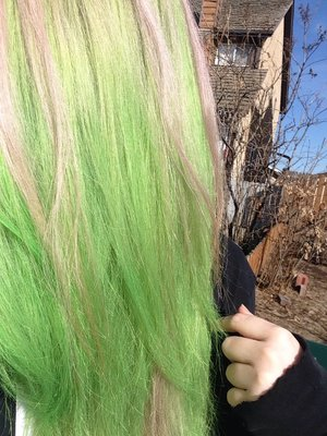 Diluted special effects sonic green + manic panic electric banana and diluted manic panic hot hot pink