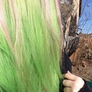 New hair. Green with pink peek a boo bits :)