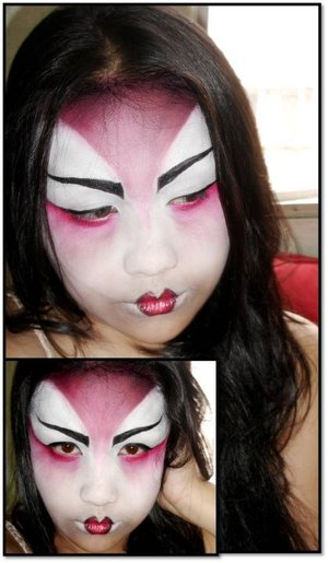 "my take on ""geisha"" look ... mwah thanks to dondon for the make up idea again! love you! hope you ike it ^_^"