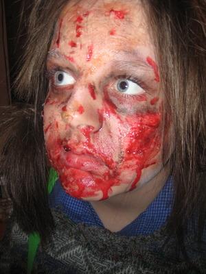 Backhoe Zombie makeup by me on Tasha my little sister:)