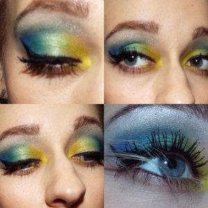 Did a rainbow design using the electric palette 💕