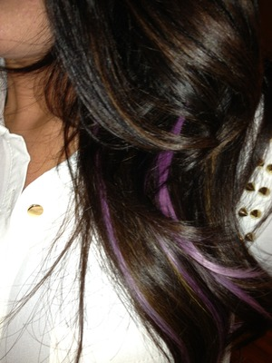 I added lavender highlights (by Style Strands of course) and love how they pop with my dark hair! http://www.stylestrands.com