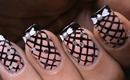 Fishnet nails tutorial -- Easy DIY striping Nail Polish Designs Video on Bow Nude Pink Long Nails