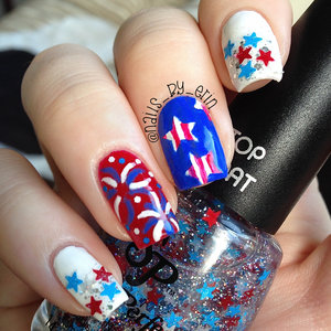 """Happy 4th of July! These are my sort of mix and match nails for today :) I did a glitter gradient on my index finger and pinky using Salon Perfect """"Star Spangled"""" with a litte bit of Essie """"Set in Stones"""" for extra silver glitter. On my ring finger, I painted some fireworks and did some glitter placement with Salon Perfect """"Speck-Tacular"""" to make them look more like fireworks. Then my middle finger was inspired by an unwatermarked nail photo that my Aunt found on Facebook. She sent the picture to me and I knew I had to recreate the look! I also saw @nailsbyjema on Instagram do the design as a whole mani a few days ago. These are a little crazy and have a lot going on but I figured the more color and sparkle there is, the better! For those of you who celebrate it, I hope you have a happy and safe holiday!"""