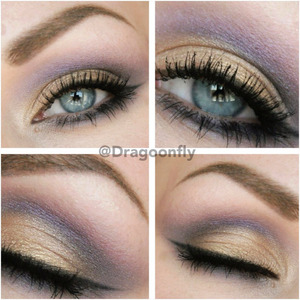 "Goldish color from naked palette 2 and the purple from sephora ""brunette eye 08"""