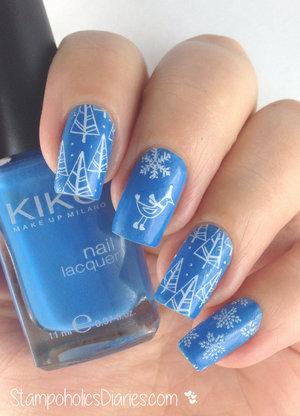 Winter mani with KIKO 386 http://stampoholicsdiaries.com/2015/01/02/winter-bird-with-kiko-386-konad-square-image-plate-10/
