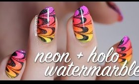 Neon Gradient & Holo Watermarble Nail Art Tutorial | Lacquerstyle