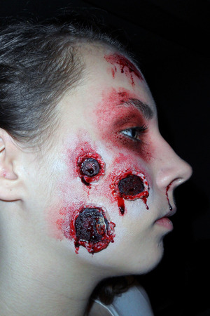Destruction half face. makeup by me, on my baby sister Skye