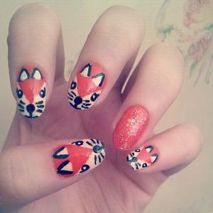 Fox nail art inspired by MissJenFabulous