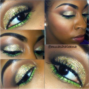 Gold glitter from MAC and Lime Green NYX Liquid Liner   Follow me on Instagram to see more makeup pics @muashaleena