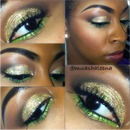 Gold Glitter with Lime Green Liquid Liner