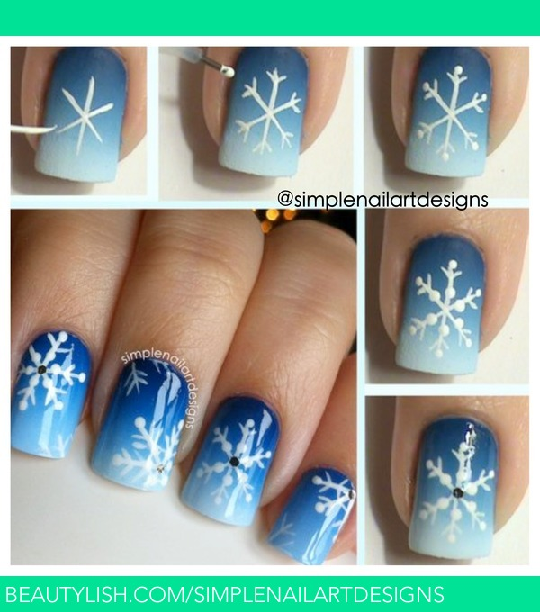 Easy Christmas Nail Art: Snowflake Nail Art Tutorial