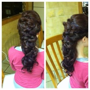 Romantic, braided, twisted design with doubled up hair extensions to create an incredible fantasy-like updo. www.facebook.com/makeuplongisland
