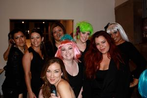 ART WALK 2011 Make-up Artists with the model/emcee of the event.  I am sporting a fugly green wig.  Eh, it was fun.