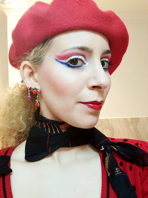 French flag based look with Sugarpill with a celebratory Eye Kandy sprinkles liner in Marshmallow!